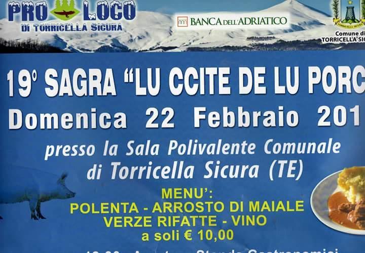 """Sagra """"Lu ccite de lu porc""""   a Torricella Sicura"""