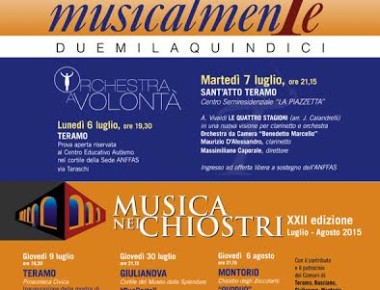 Musicalmente 2015 e Musica nei chiostri dal 6/07 al 8/08