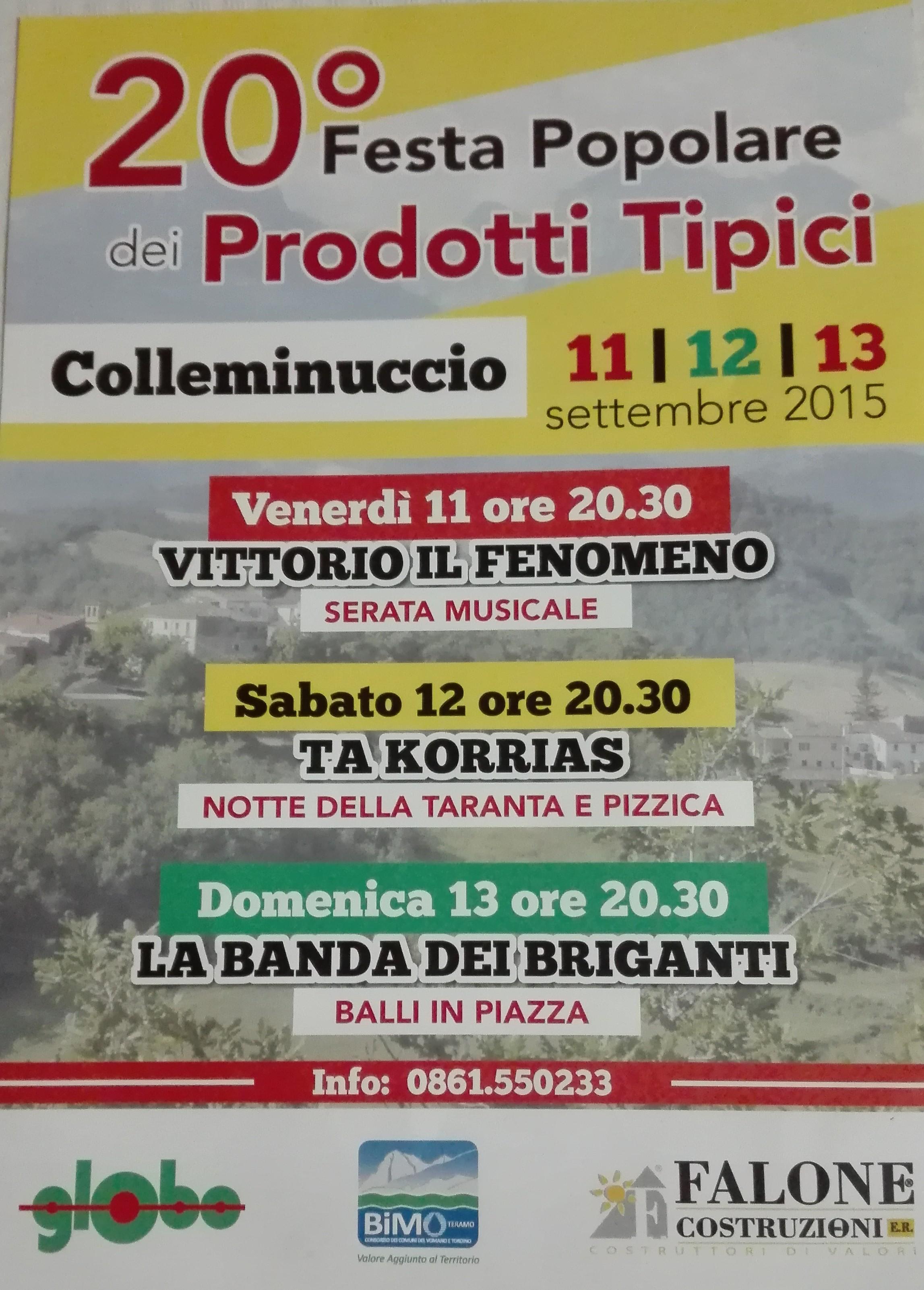 FESTA POPOLARE DEI PRODOTTI TIPICI 11-13 SETTEMBRE Colleminuccio