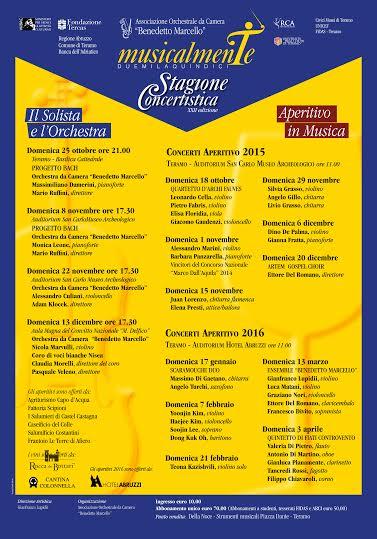 """CALENDARIO 2015/16 XXII Stagione Concertistica 'Ass.ne Orchestrale da Camera """"Benedetto Marcello"""""""