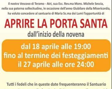 CIVITELLA DEL TRONTO - FESTA DELLA MADONNA DEI LUMI 2016 dal 18 al 27 aprile