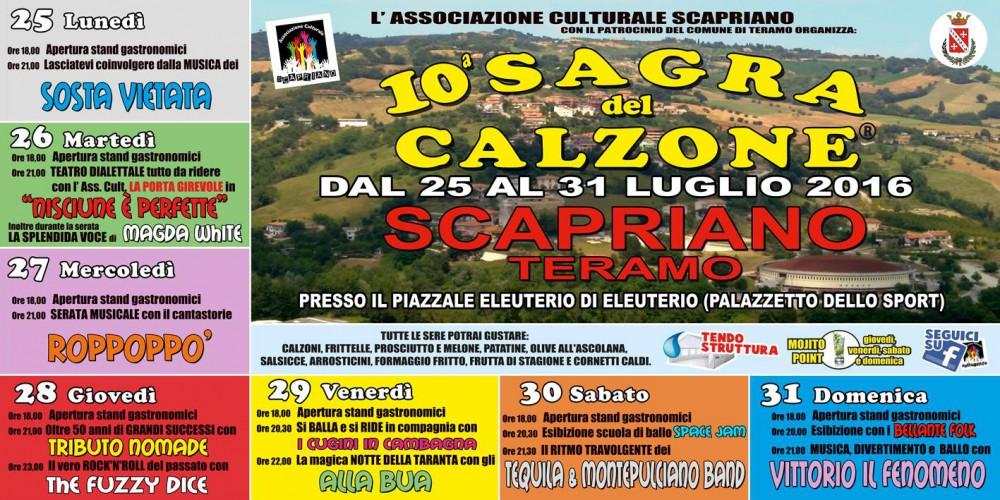 Scapriano di Teramo - 10 Sagra Del Calzone dal Lunedì 25 al  31 Luglio 2016
