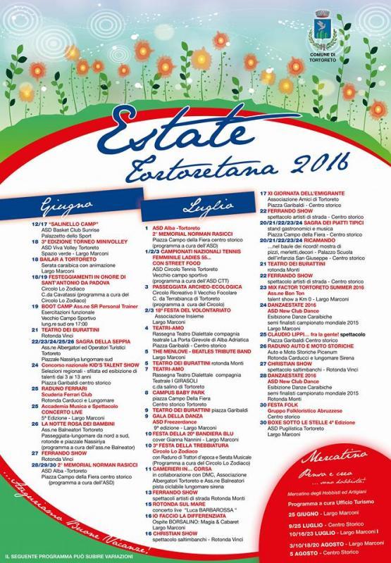 Tortoreto - Estate Tortoretana , eventi  programma 2016