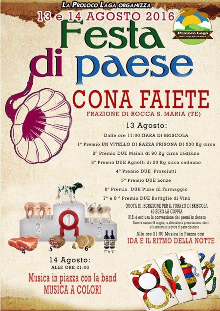 FESTA DI PAESE  Cona Faiete di Rocca Santa Maria 13/14 agosto 2016