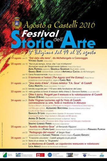 FESTIVAL DELLA STORIA DELL' ARTE dal 19 al 26 agosto 2016