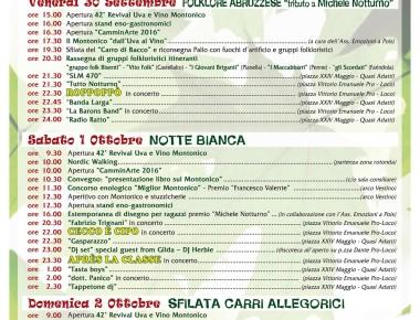 REVIVAL UVA E VINO MONTONICO DAL 30/09 AL 2/10/2016