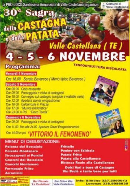 SAGRA DELLA CASTAGNA E DELLA PATATA dal 4 al 6 novembre 2016