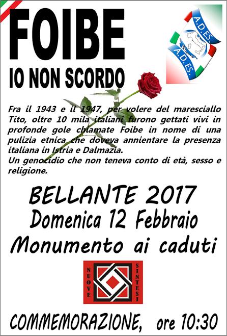 Bellante - Foibe , io non scordo 12/01/2017