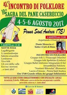 Penna Sant' Andrea - 41° INCONTRO DI FOLKORE INTERNAZIONALE  dal 4 al 6 agosto 2017