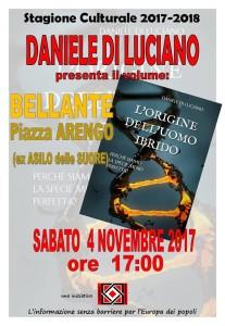 """BELLANTE - """"L'ORIGINE DELL'UOMO IBRIDO"""" 4 NOVEMBRE 2017"""