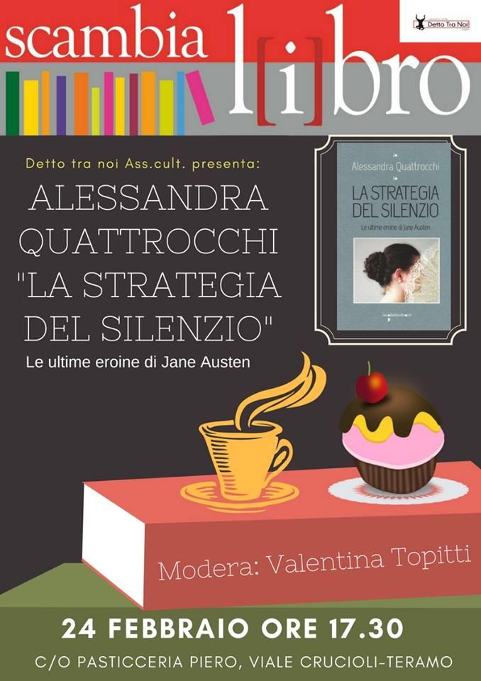 """Teramo - """"La strategia del silenzio. Le ultime eroine di Jane Austen"""" Scambialibro 24 febbraio"""