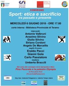 """Teramo - """"Sport: etica e sacrificio, tra passato e presente"""" 6 giugno 2018"""