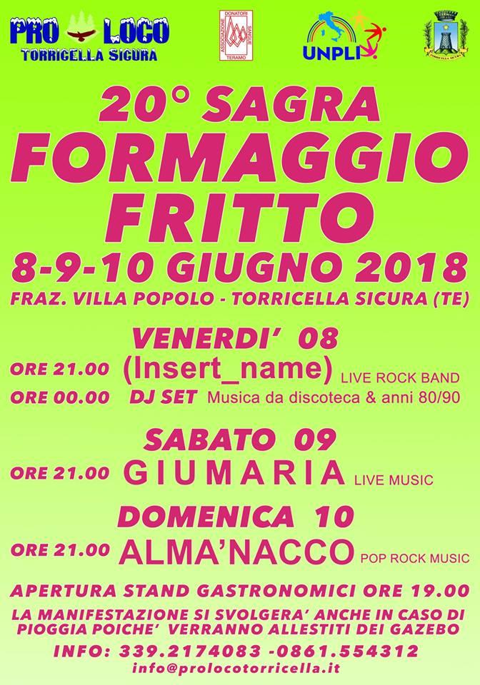Villa Popolo - SAGRA DEL FORMAGGIO FRITTO dal 8 al 10 giugno 2018