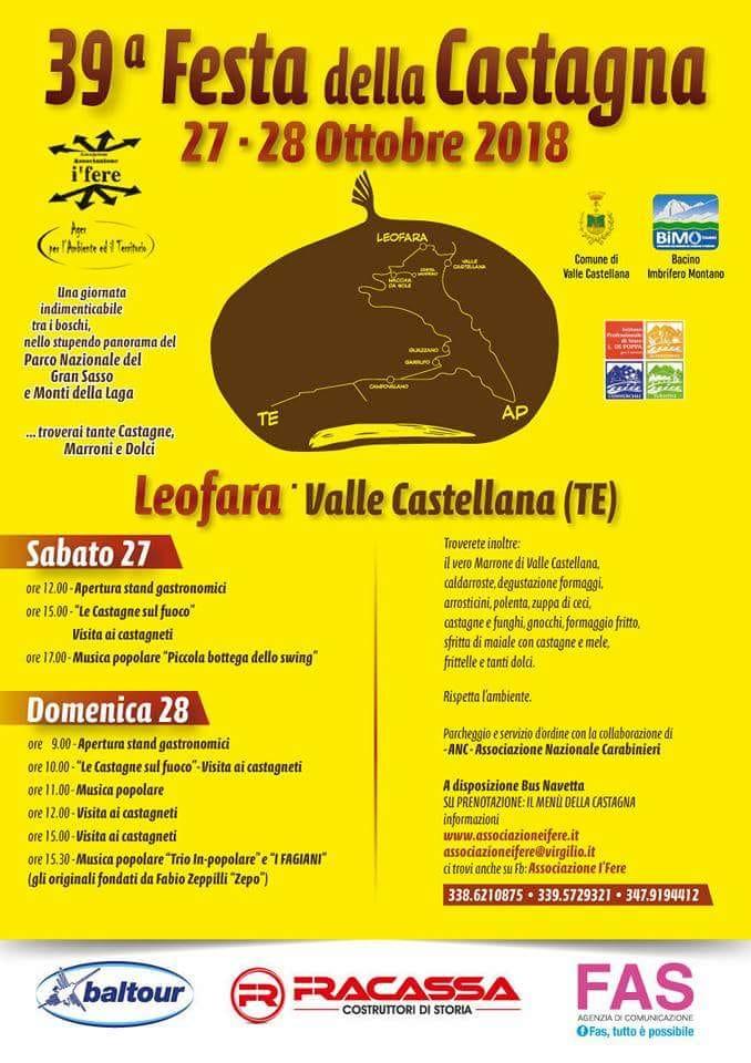 LEOFARA DI VALLE CASTELLANA -FESTA DELLA CASTAGNA dal 27\10 al 28\10\2018