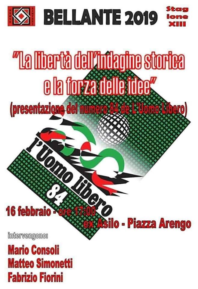 """""""La libertà dell'indagine storica e la forza delle idee""""  16 FEBBRAIO 2019"""
