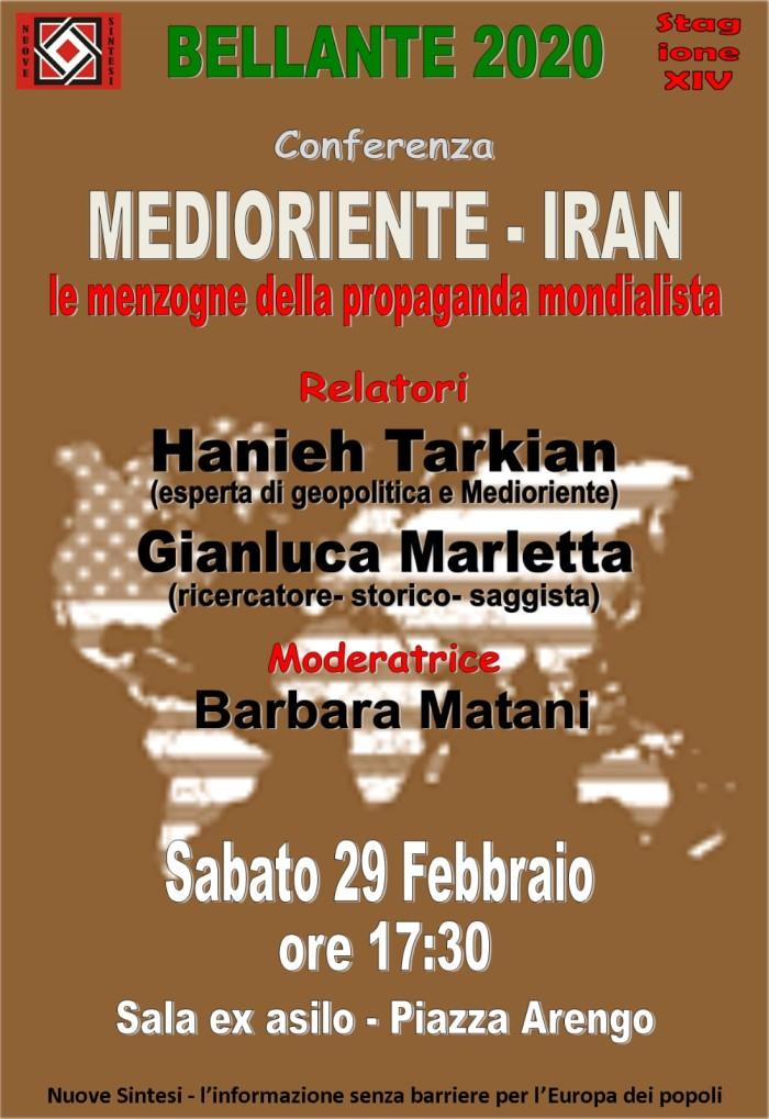 """BELLANTE paese - """"MEDIORIENTE - IRAN. LE MENZOGNE DELLA PROPAGANDA MONDIALISTA""""  29 FEBBRAIO 2020"""